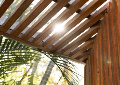 Detail of timber screening in outdoor area